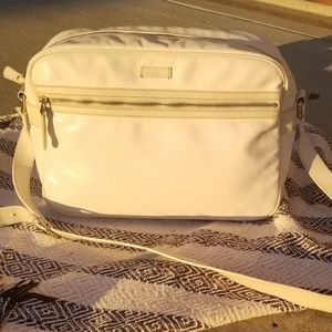 Gucci White Messenger bag with leather Strap